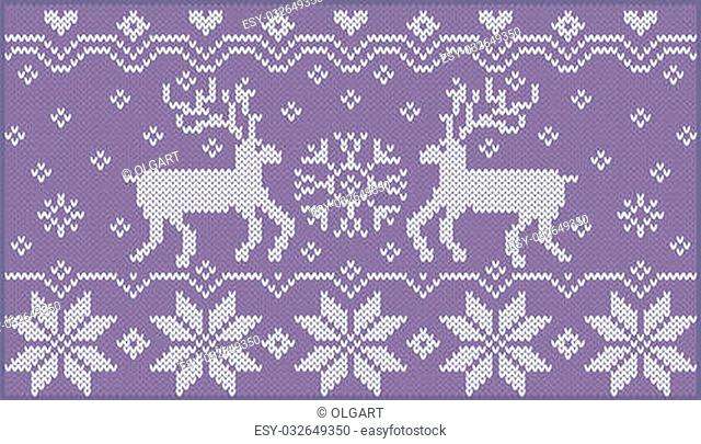 Fashionable nordic pattern. Knitted style. Creative illustration with winter deers