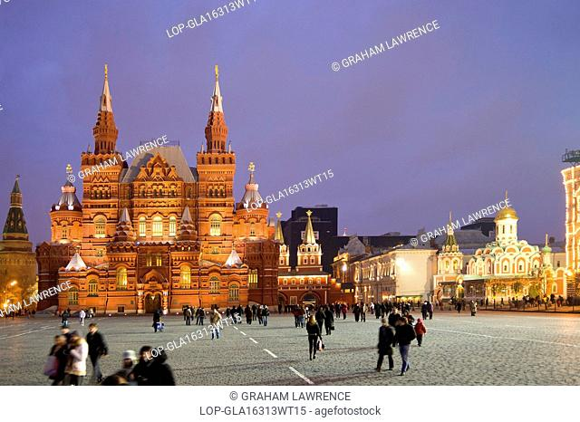 Russia, Moscow Oblast, Moscow. Evening view of The National State Historical Museum in Red Square