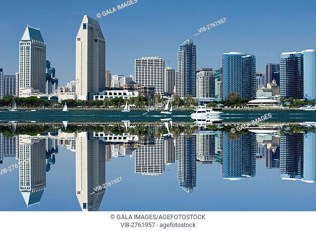 DOWNTOWN HARBORSIDE CITY SKYLINE FROM BAY VIEW PARK SAN DIEGO CALIFORNIA USA