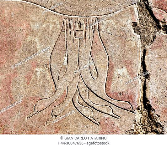 Luxor, Karnak, Egypt.Temple of Karnak sacred to god Amon: sculptures in a wall with ducks