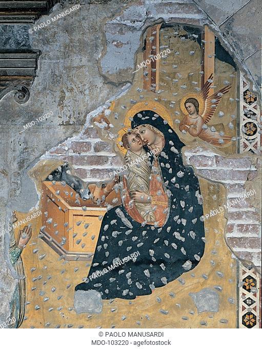 The Nativity, by Master of the Annunciation, 14th Century, fresco. Italy; Veneto; Verona; San Fermo church; Basilica Inferiore. All