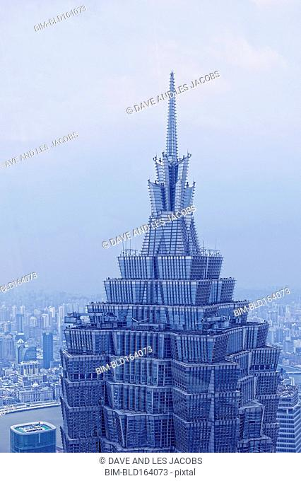 Aerial view of highrise building in Shanghai cityscape, Shanghai Province, China
