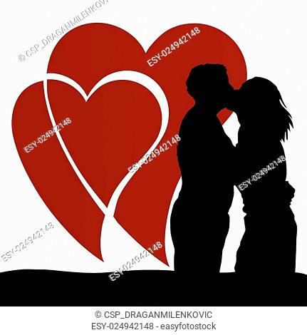 couple in love with heart vector