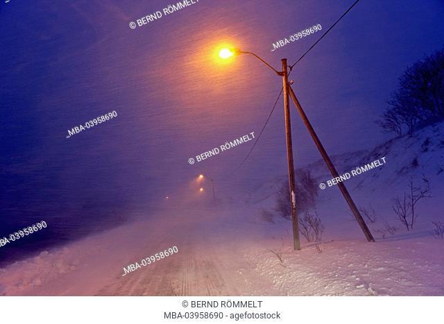 Norway, eastern Finnmark, blizzard