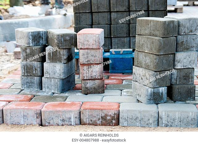Piles of sidewalk brick