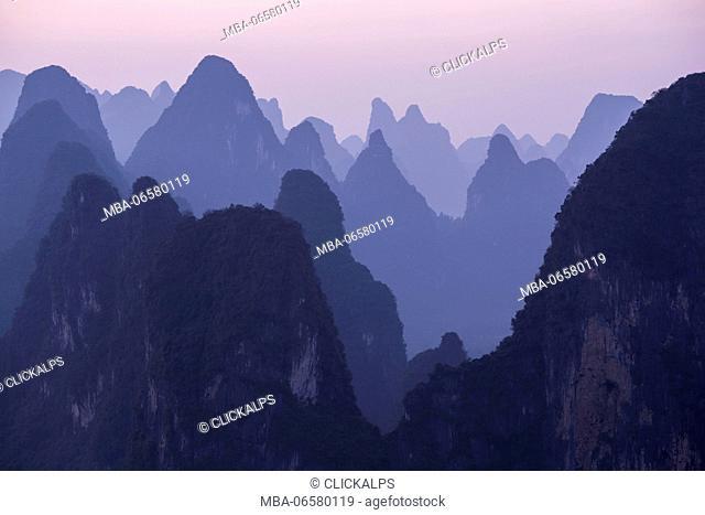 Asia, China, Guilin, Xingping, Karst Mountains