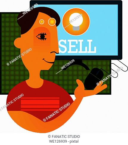 Businessman trading online