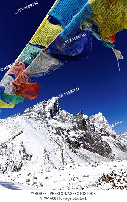 Prayer flags and snowy mountains, Everest Region, Nepal