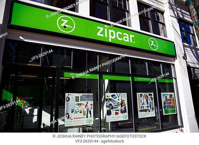 PORTLAND, OR - FEBRUARY 2, 2016: Zipcar sign in downtown PDX, a ride sharing company with electric and hybrid automobiles