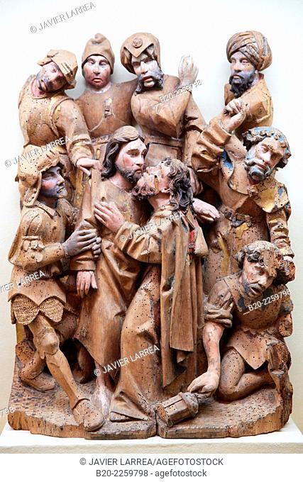 Le Baiser de Judas/ The kiss of Judas. Brabant, 1500. Musee du Moyen-Age Middle Ages Museum, the former Hotel de Cluny. Musée de Cluny. Paris. France