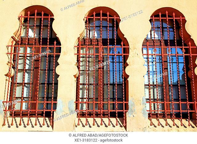 bars in modernist windows, Caldes de Malavella, Catalonia, Spain