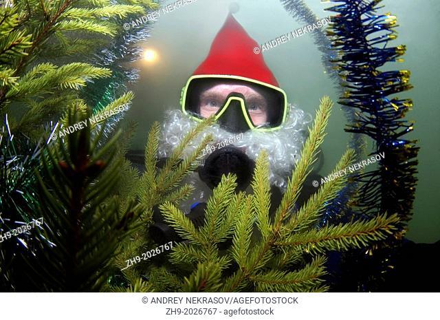 underwater Santa Klaus, Odessa, Ukraine