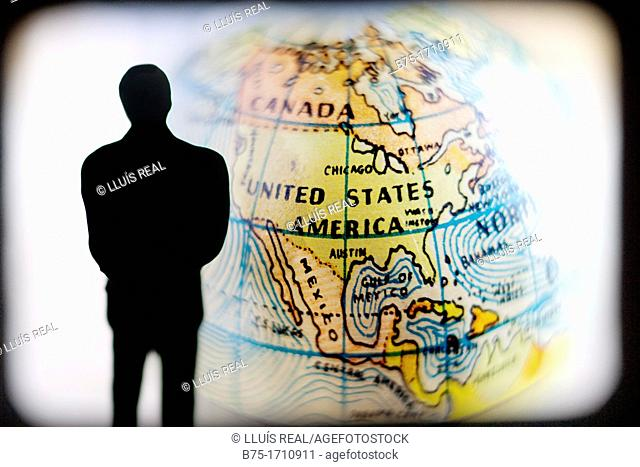 man observing the globe, United States of America