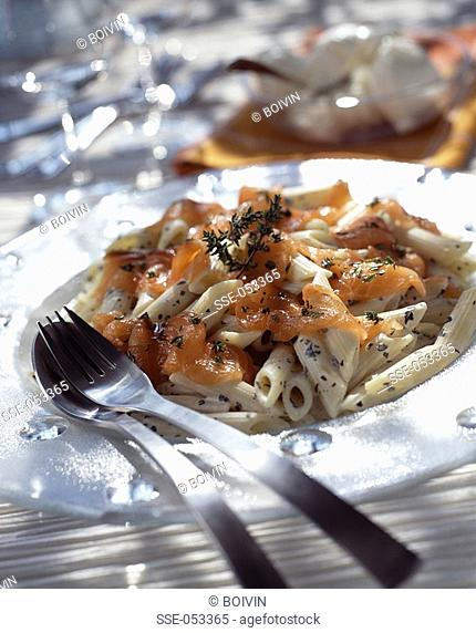 pasta salad with mascarpone and thyme-marinated salmon topic: fromage frais