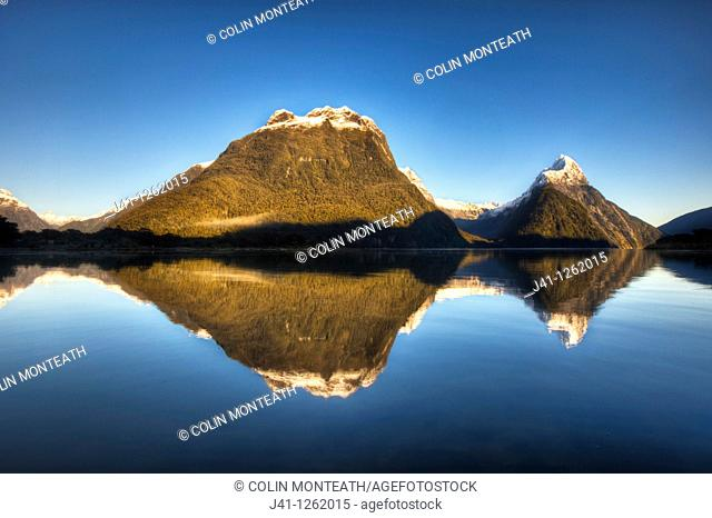 Mitre peak, winter sunrise, Milford Sound, Fiordland National Park