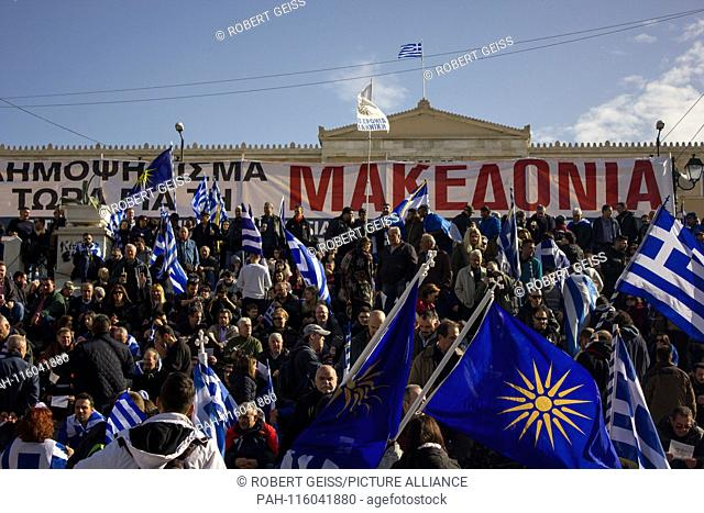 """Greeks in front of Parliament during protest rally against recognition of FYROM as North Macedonia. Banner """"""""Macedonia"""""""". 20.01.2019 