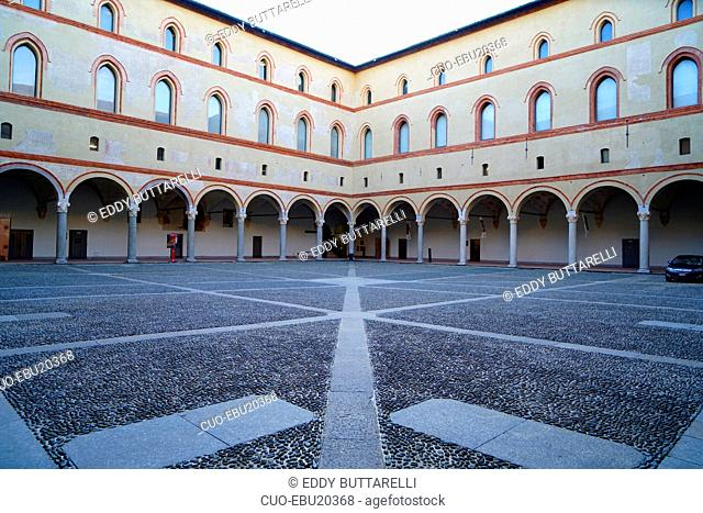 Castello Sforzesco castle, Cortile della Rocchetta courtyard, Milan, Lombardy, Italy, Europe