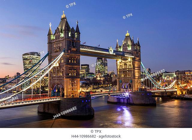 England, London, Tower Bridge and City, Skyline