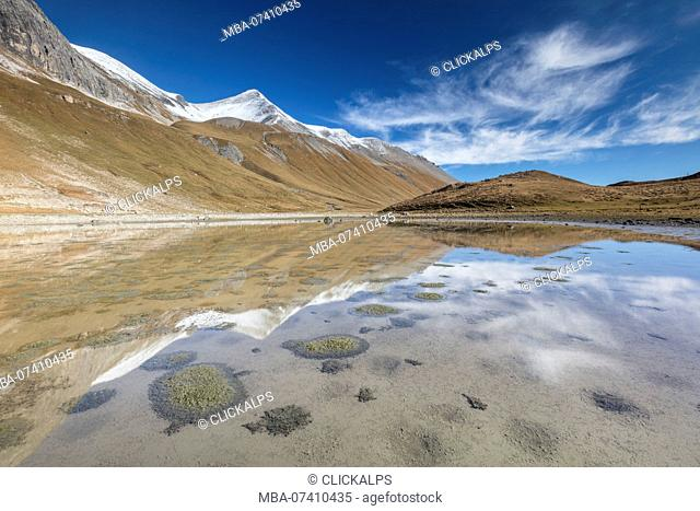 Mountain peaks reflected in water, Albula Pass, Bergün, Canton of Graubünden, Engadine, Switzerland