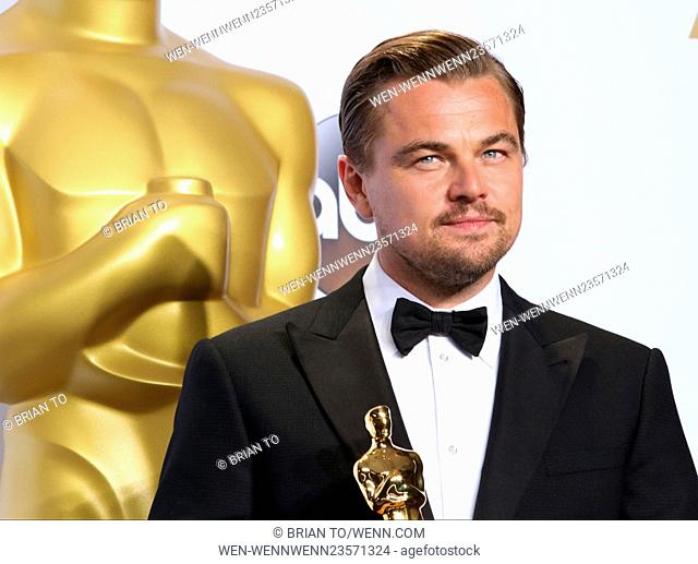 The 88th Oscars live from the Dolby Theatre - Press Room Featuring: Leonardo DiCaprio Where: Los Angeles, California, United States When: 28 Feb 2016 Credit:...