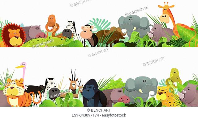 Illustration of a seamless frieze with cute various cartoon wild animals from african savannah, including lion, gorilla,elephant, giraffe