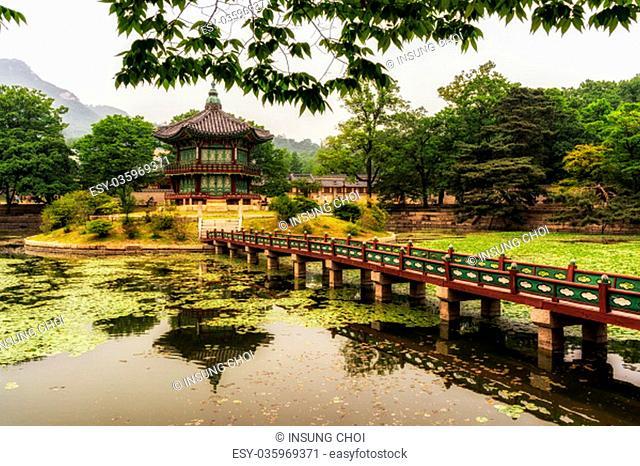 Hyangwonjeong Pavilion and pond scenery inside Gyeongbokgung Palace (Seoul, South Korea)