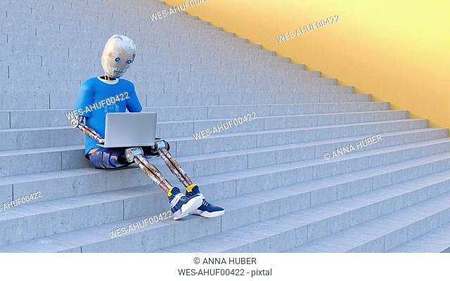Robot sitting on stairs using laptop, 3d rendering