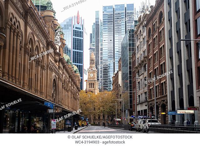 Sydney, New South Wales, Australia - A view of York Street in the central business district of the Australian metropolis with the Queen Victoria Building on the...