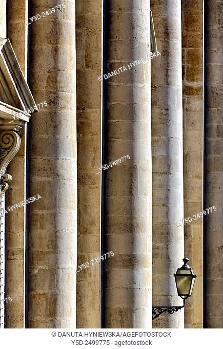 Europe, Italy, Sicily, Catania, San Francesco d'Assisi church, side view of front facade