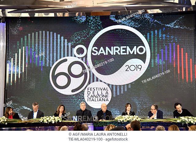 Teresa De Santis direttore di Rai 1, Claudio Baglioni, Claudio Bisio, Virginia Raffaele, il sindaco di Sanremo Alberto Biancheri attends the press conference to...