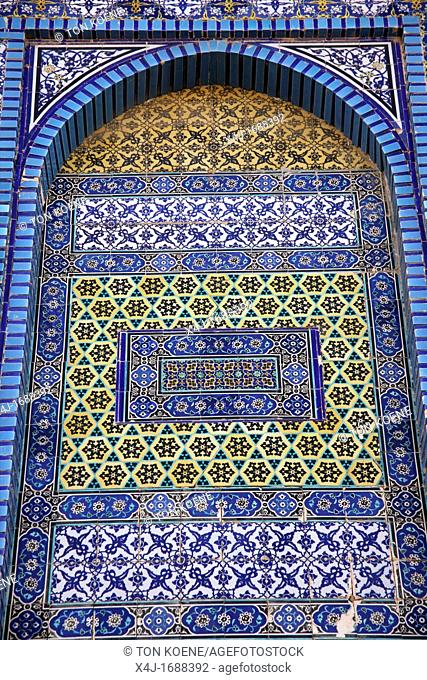 Closeup of the mosaic exterior of the Dome of the Rock on Temple Mount in the Old City of Jerusalem