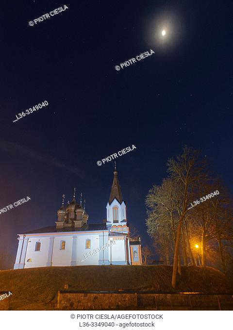 Orthodox church at night. Mielnik, Podlasie region, Poland