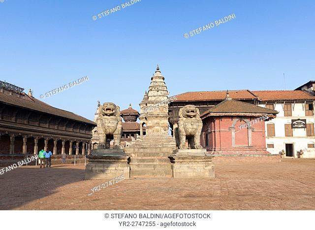 Stone Lions at Indra Varna Madavihar, Bhaktapur, Nepal