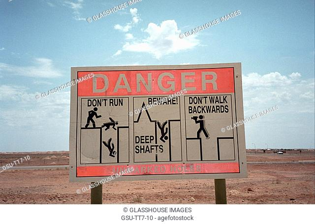 Danger sign in Coober Pedy, South Australia, Australia