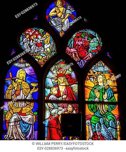 Faith Love Hope Hell Heaven Jesus Christ Stained Glass Window De Krijtberg Church Amsterdam Holland Netherlands. Stained Glass in De Krijtberg, Catholic Church