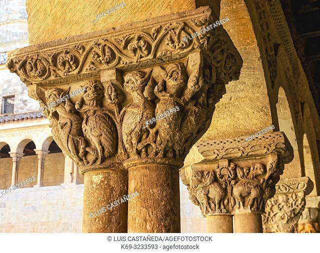 Romanesque Capitals. Cloister of Santo Domingo de Silos Monastery. Spain
