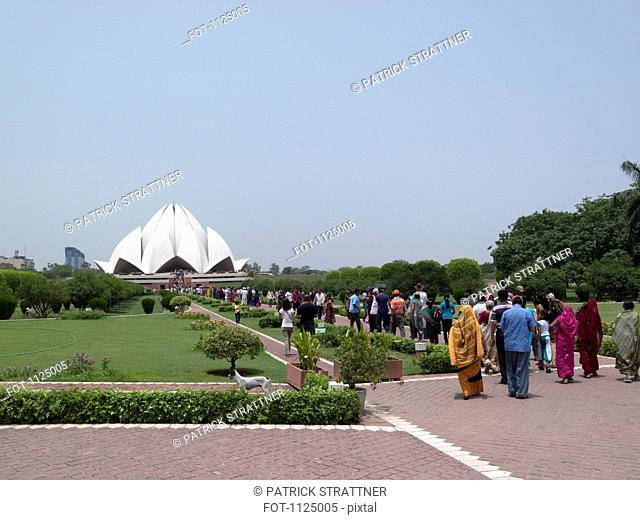 People in line at the Lotus Temple, New Delhi, India