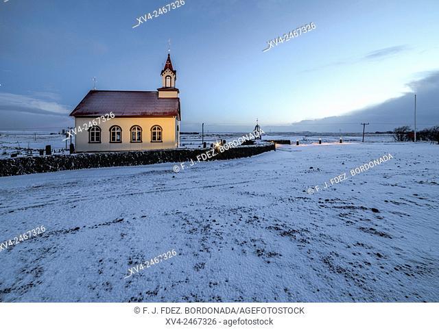 Rural church near of Selfoss city, Iceland