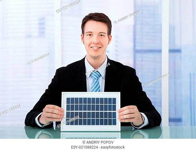 Confident Businessman Holding Solar Panel At Desk