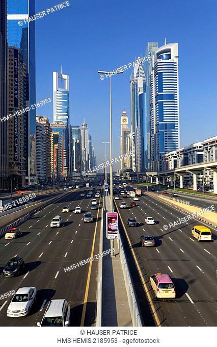 United Arab Emirates, Dubai, Sheikh Zayed Road, Main road 558 km long