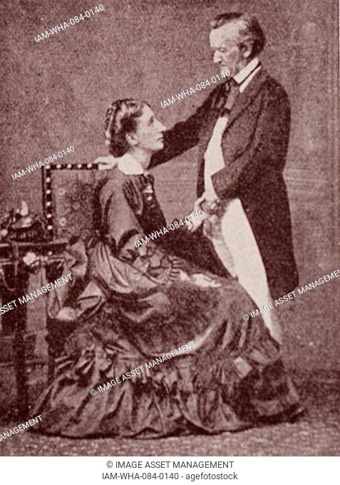 Portrait of Richard Wagner (1813-1883) a German composer, theatre director, polemicist, and conductor, and his wife Cosima Wagner (1837-1930) Dated 19th Century