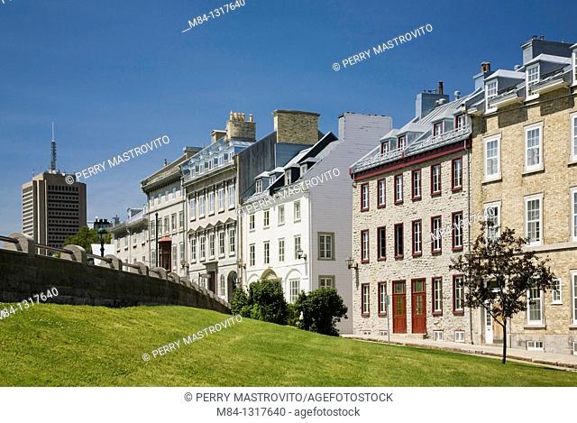 Marie-Guyart building and old residences along Avenue Saint-Denis in the Upper Town area of Old Quebec City, Quebec, Canada