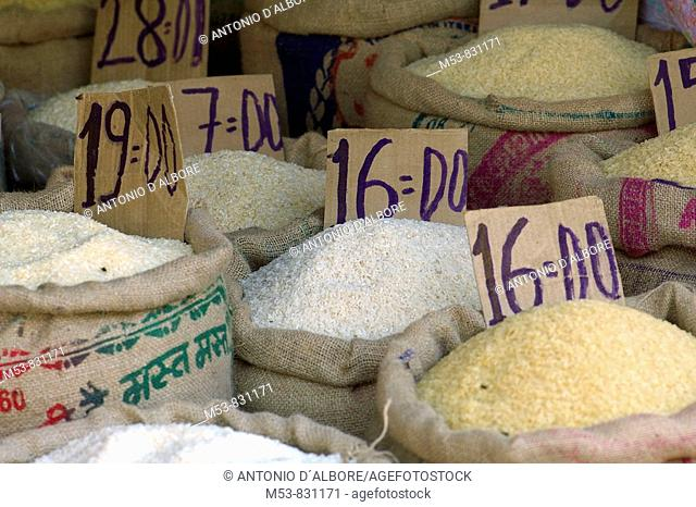 rice varieties with price tags in a shop in santacruz district mumbai maharashtra india asia