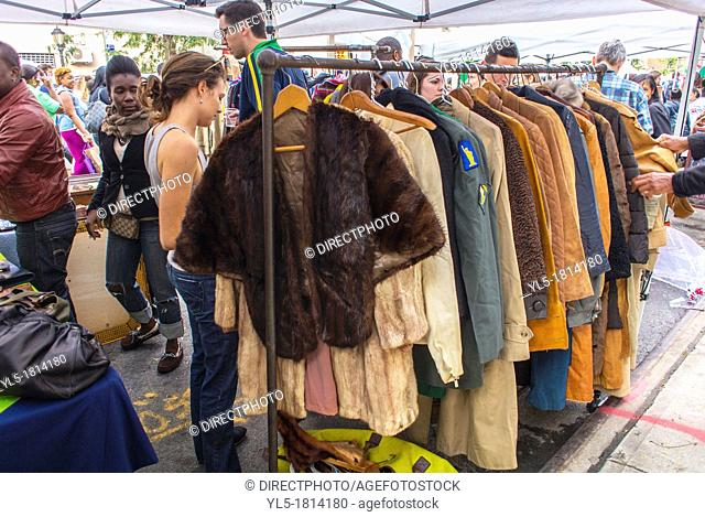 New York City, USA, People Shopping in VIntage Clothing Stall the Brooklyn Street Festival, 'Atlantic Antic'