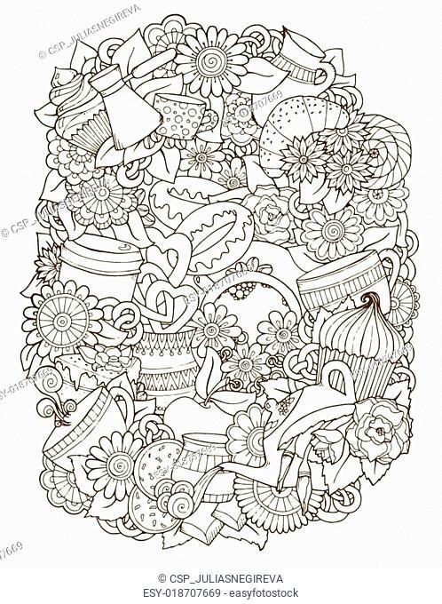 Sketch Doodles. Coffee, Tea, Love Background