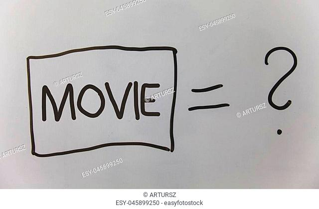 Writing note showing Movie. Business photo showcasing Cinema or television film Motion picture Video displayed on screen Question answer equal plane light...