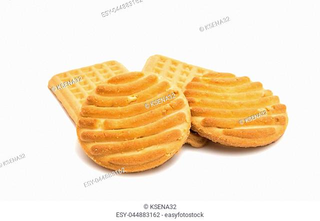 Butter biscuits isolated on white background
