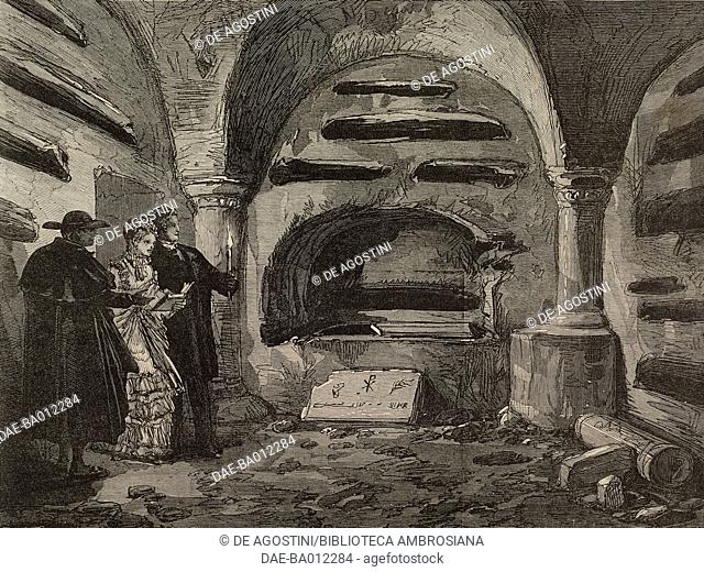 Interior of the Catacombs of St Calixtus, Rome, Italy, illustration from the magazine The Illustrated London News, volume LX, January 27, 1872