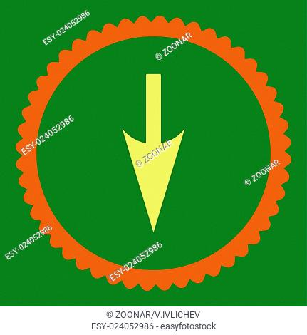 Sharp Down Arrow flat orange and yellow colors round stamp icon