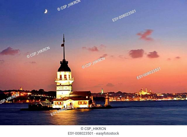 Maiden's Tower view at night with crescent. Istanbul Turkey
